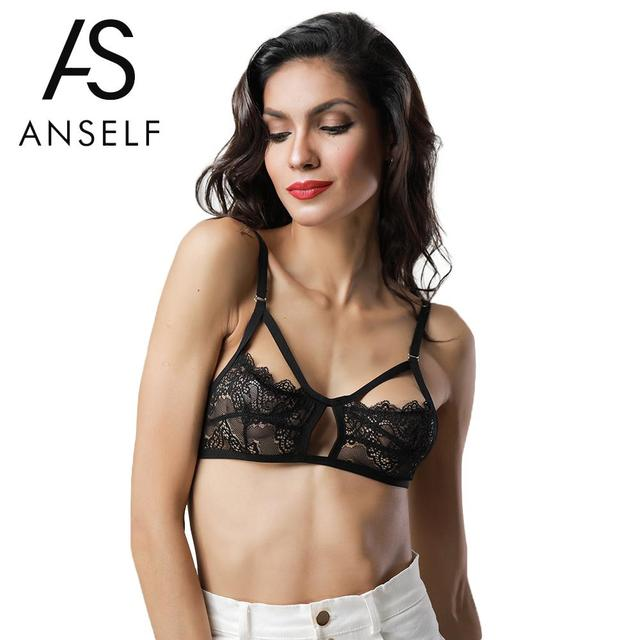 a1231eeabbbb7 Anself Sexy Women Floral Lace Bra Bustier Sheer Top Cut Out Seamless  Bralette Transparent Cup Wireless