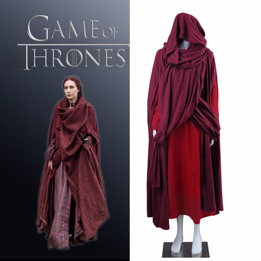 Cosplaydiy Custom Made TV Game of Thrones Witch Melisandre Cosplay Costume Dress Adult Melisandre Red Cloak Dress Costume L0516