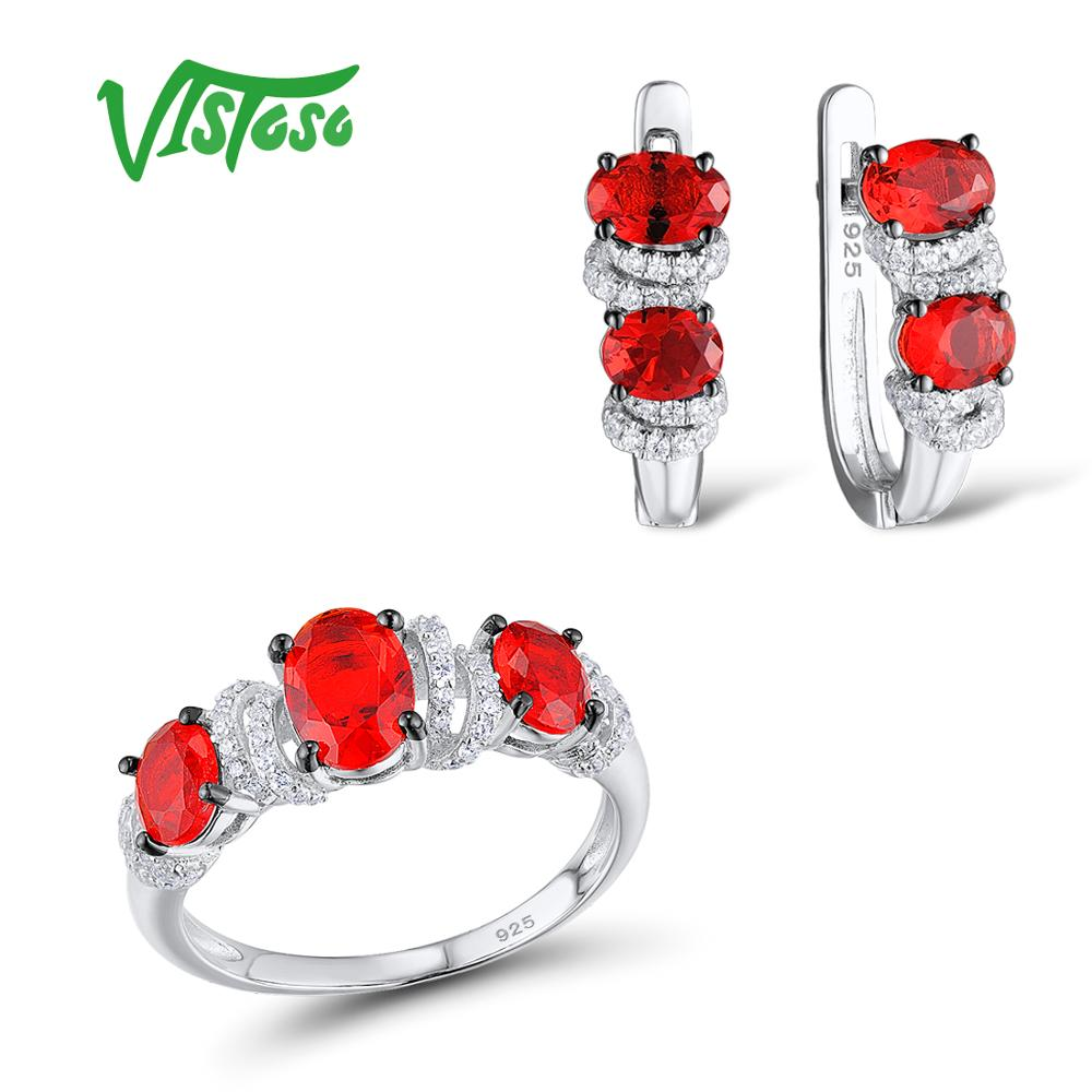 VISTOSO Jewelry Sets For Woman Red Crystal White CZ Stones Jewelry Set Earrings Ring 925 Sterling