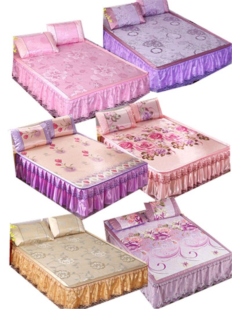 3 pièces glace soie lit jupe multi-fonction lit feuille couverture matelas imprimer dentelle décoration de la maison