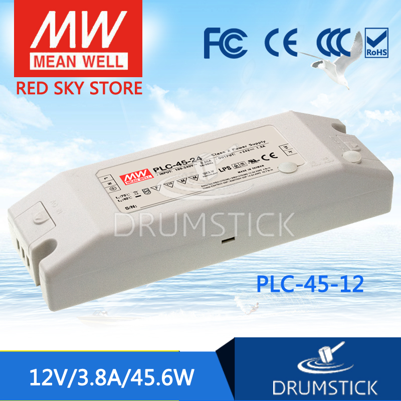 все цены на  hot-selling MEAN WELL PLC-45-12 12V 3.8A meanwell PLC-45 12V 45.65W Single Output LED Power Supply  онлайн