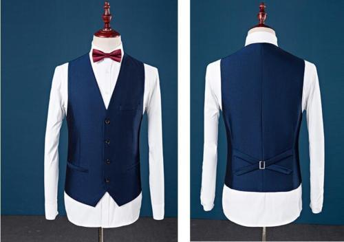Niestandardowe Slim Fit szczyt Lapel Best Man garnitur niebieski Groomsman mężczyźni ślubne Prom garnitury męskie smokingi balu kostium Homme kurtka + spodnie + kamizelka w Garnitury od Odzież męska na  Grupa 3