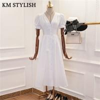 2018 Summer Style V neck Bow Long Midi Dress Single Breasted Puff Sleeve Waist Dress Black & White Color
