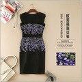 Новый 2016 весна лето марка мода высокое качество сексуальное черное платье роскошные сирень вышивка оболочка рукавов элегантное платье