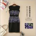 Nuevo 2016 marca de primavera y verano moda alta calidad mujeres sexy vestido negro lila lujo bordado vaina sin mangas vestido elegante