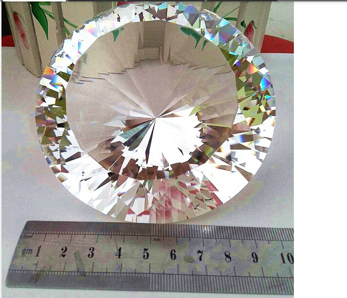 100mm Huge Crystal White Paperweight Cut Glass Giant Diamond Lady Jewelry Gifts free shipping