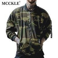 MCCKLE 2017 camuflagem Outono jaqueta Masculina fina Jaquetas Bomber Bordado dos homens Zipper Jaqueta de Beisebol Camo Militar Do Exército Verde