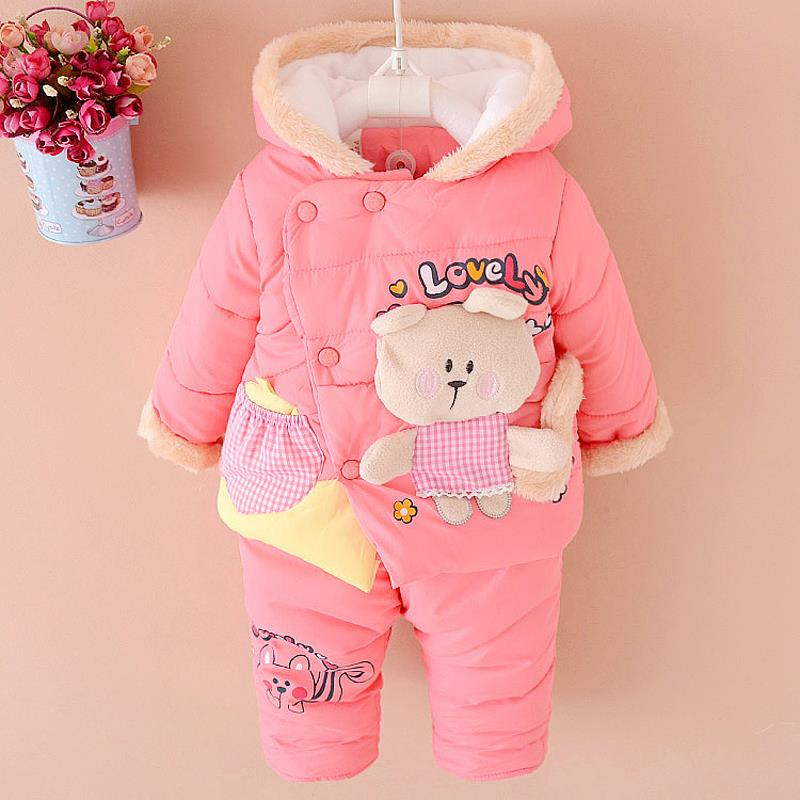 NEW Baby Set 2015 Winter BABY Girl clothes Cartoon coat  Thick Warm Coat+Pants Warm Winter Outerwear Jacket Clothing Sets he hello enjoy baby girl clothes sets autumn winter long sleeved cartoon thick warm jacket skirt pants 2pcs suit baby clothing