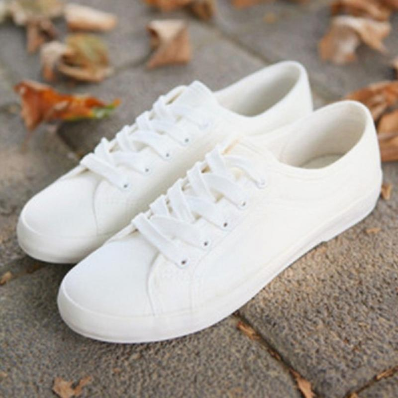Fashion Women Canvas Shoes Low Breathable Solid Color Ladies Spring Autumn White Leisure Cloth Shoes Casual Sneakers