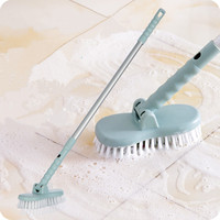 2 In 1 Long Handled Retractable Bristle Floor Cleaning Brush Toilet Bath Bathtub Ceramic Tile Glass
