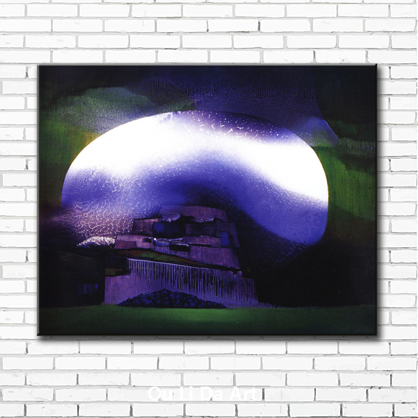 abstract moon light village scenery canvas printings oil painting printed on canvas home living room wall art decoration picture