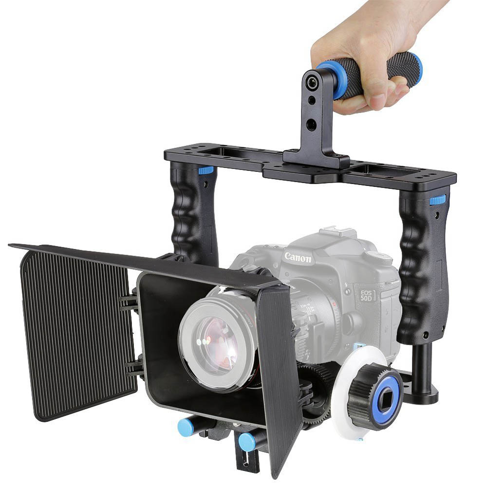 Professional DSLR Camera Rig Handheld Stabilizer Mount Cage Matte Box Follow Focus For Canon Nikon Sony