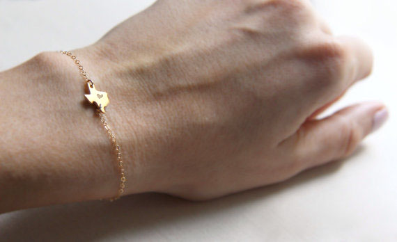Outline Texas State Bracelet With Heart