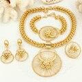 Новый Италия Мода Бижутерия Африканских Женщин Большой Ожерелье Браслет Кольца Серьги Дубай Позолоченные Ювелирные Наборы 18 К