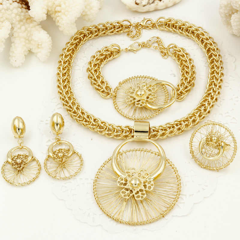 Liffly africain cadeau de mariée mariage Dubai or ensembles de bijoux pour les femmes mode Costume bijoux grand collier Bracelet boucles d'oreilles ensemble