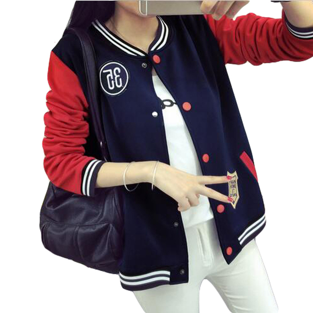 35a48dbb6b1db ZYFPGS 2018 Autumn Plus Size 5XL Baseball Jacket Women Bomber Jackets For Women  Patchwork Coat hoodies button fashion tops new