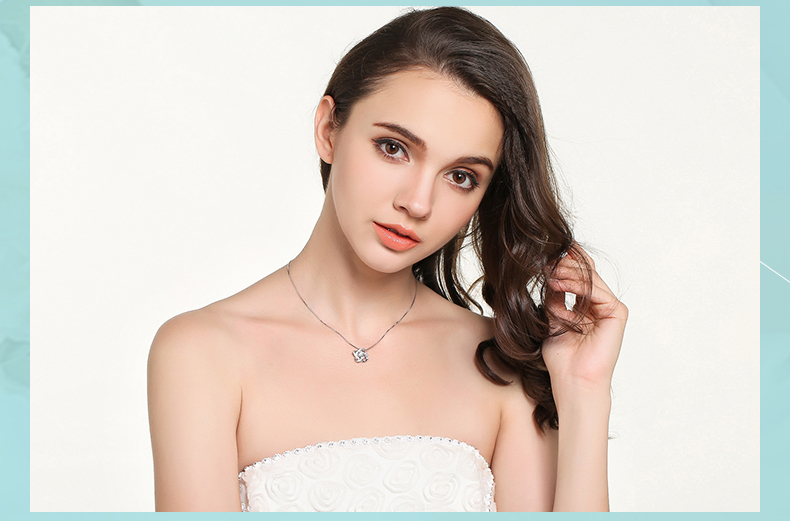 925 Sterling Silver Zircon Clover Flower Necklaces & Pendants For Women High Quality Sterling-silver-jewelry 16