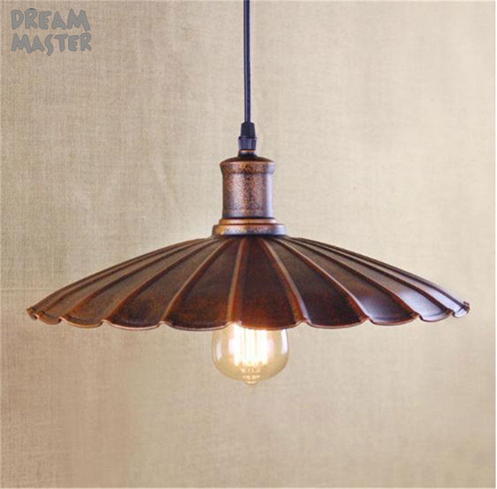 D34cm Rustic Retro pendant light Wrought Iron Vintage Industrial Lighting Lamp Bar American Country Style Design for Home ems free shipping american fashion brief rustic wrought iron pendant light small single head bar pendant fg686