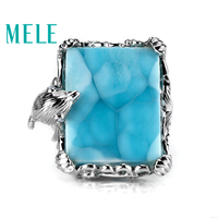 Top quality 18k gold ring with natural larimar gemstone,diamonds dolphin shape,Fashion noble atmosphere jewelry
