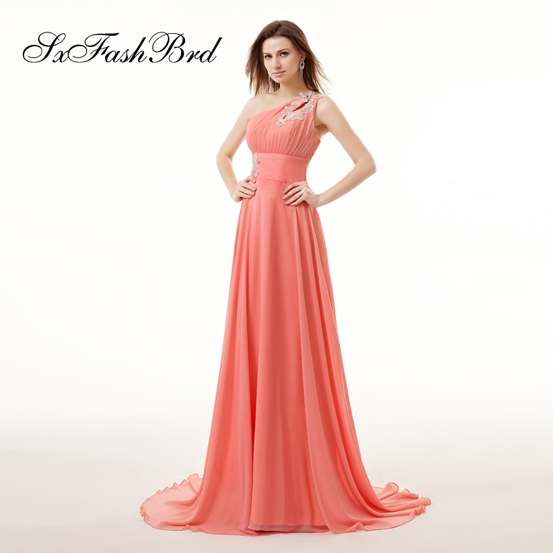 One Shoulder With Beading A Line Chiffon Elegant   Dress   Long Formal   Evening     Dresses   for Women Party Prom Robe Longue