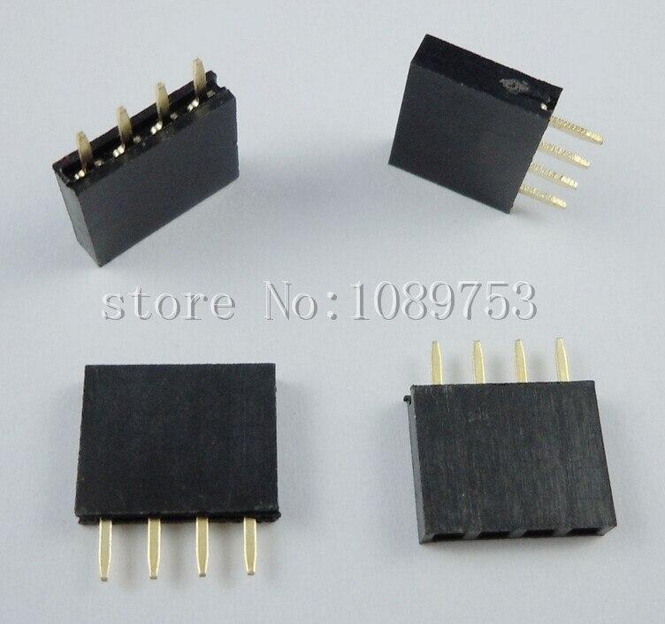 500PCS 4Pin 2.54mm Single Row Straight Female Pin Header 4P Strip PBC ys 532 single row 20pin female headers black 5 pcs