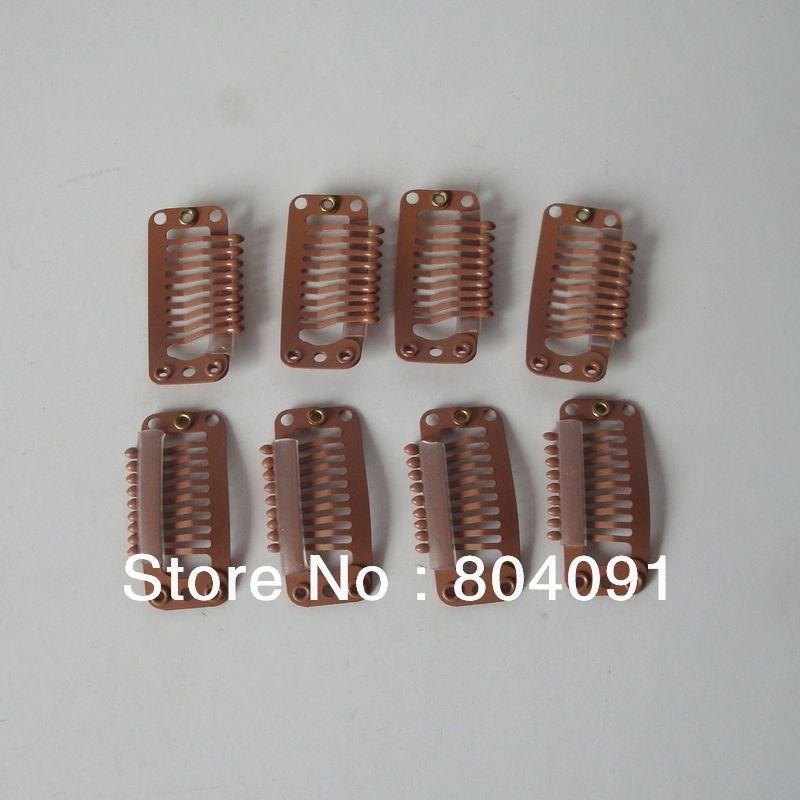 Парик заколки для волос 3,2 см 9 прямые зубья зажимы коричневый цвет(заколки