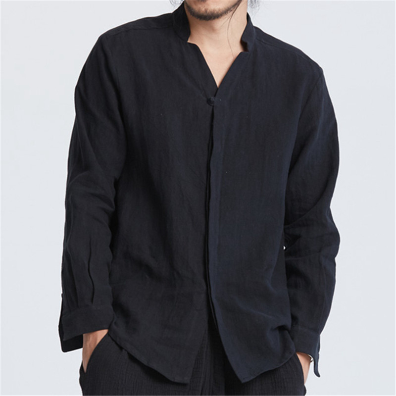 Men's Chinese Style Solid White Black Long Sleeve Collarless Shirt Men Casual Loose Cotton Linen Shirts Men Shirt Stand Collar