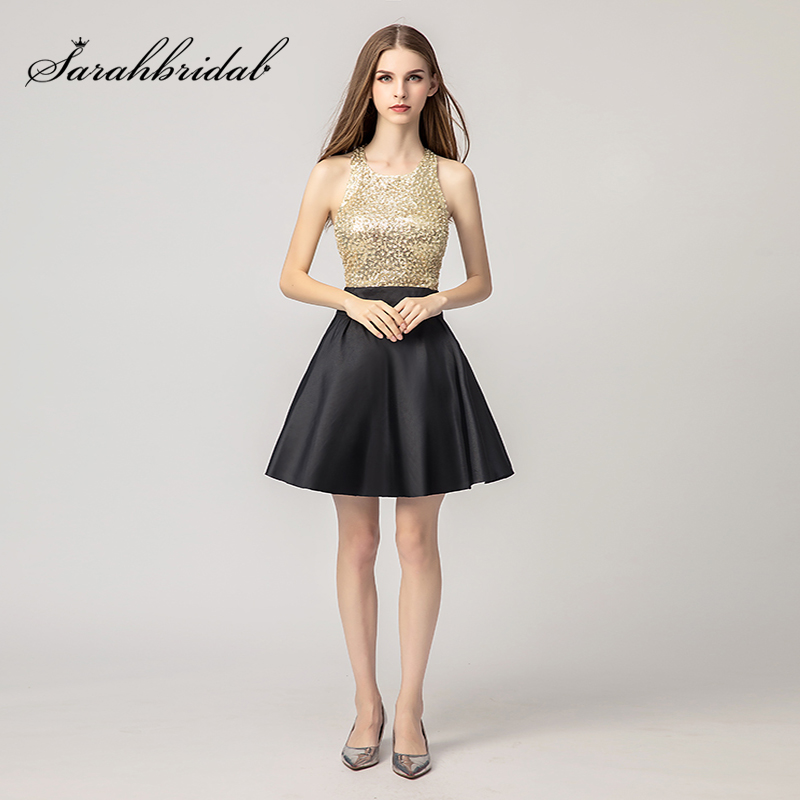 2018 Little Black   Cocktail     Dresses   with Gold Sequin Bodice Sexy Halter Satin Backless Short Mini Evening Party Gowns L3471