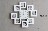 Solid wood photo frame wall black and white watch sets photo wall portfolio photo frame creative wall clock