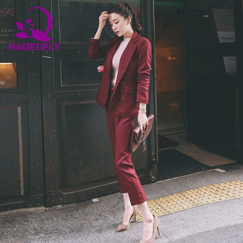 D'affaires wine Femmes Pièce Rouge Costume Nouveau Vin Avec Ensemble Black 2 Costumes Pantalon Printemps Bureau Noir Coréen Blazer Red Mince Veste qHwzYHxA