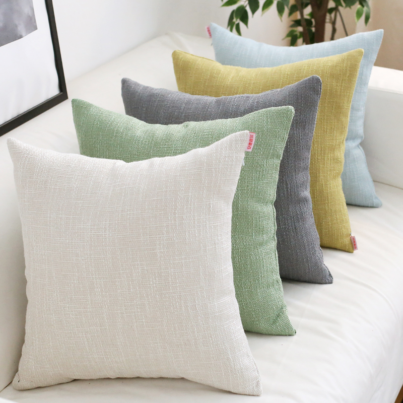Plain Cushion Cover Solid Home Decorative Vintage Pink Ivory Blue Green <font><b>Pillow</b></font> <font><b>Case</b></font> for Home Sofa Bed 45x45cm <font><b>50x50cm</b></font> 60x60cm image
