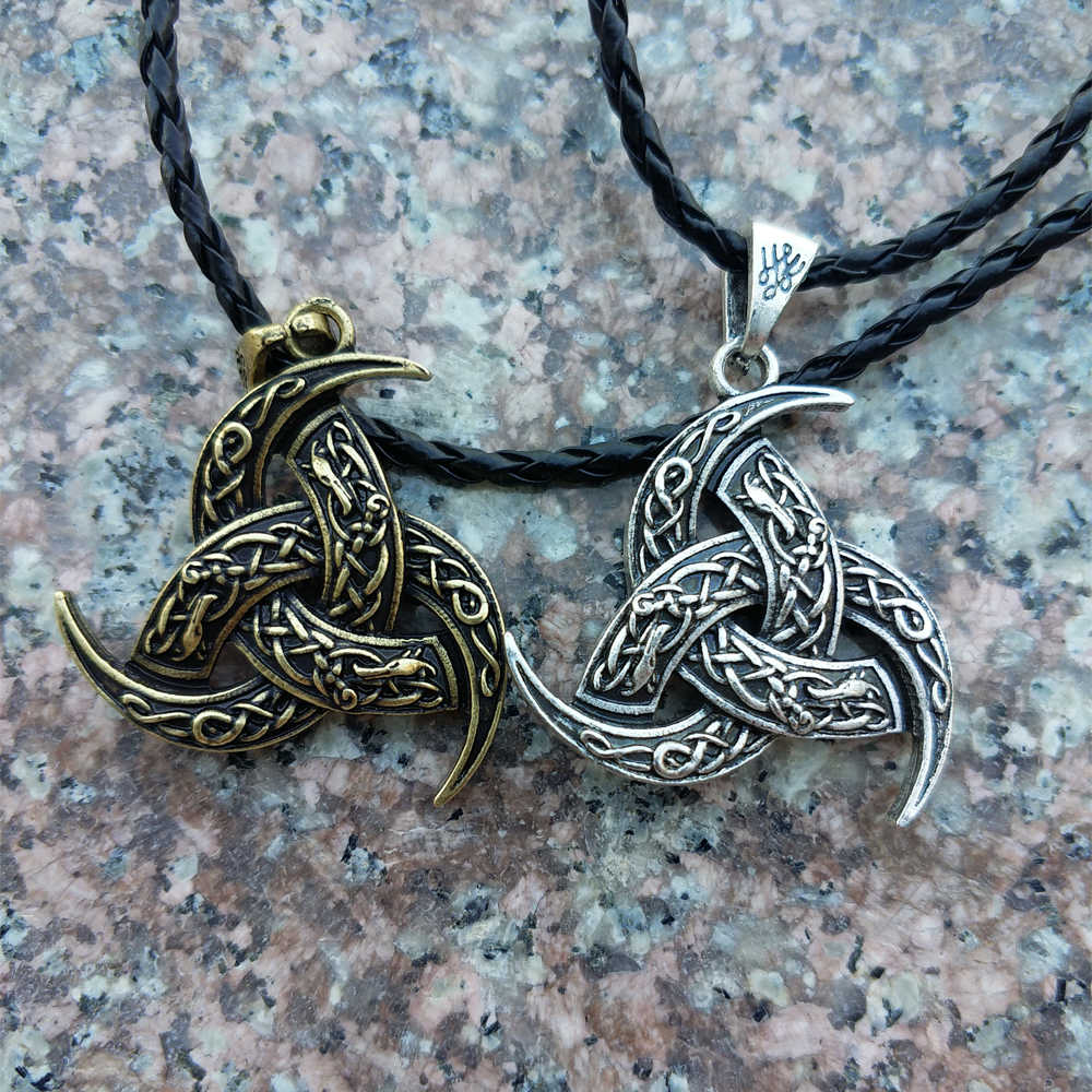 1 Pcs Norse Viking Kalung Legendry Odin Tanduk dan Kalung Naga Nordic Jimat