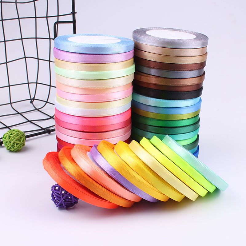 6mm Width 22 Meters Length Silk Satin Ribbons Cheap Wedding Christmas Party Decoration Ribbons White Green Red Pink Blue Ribbons