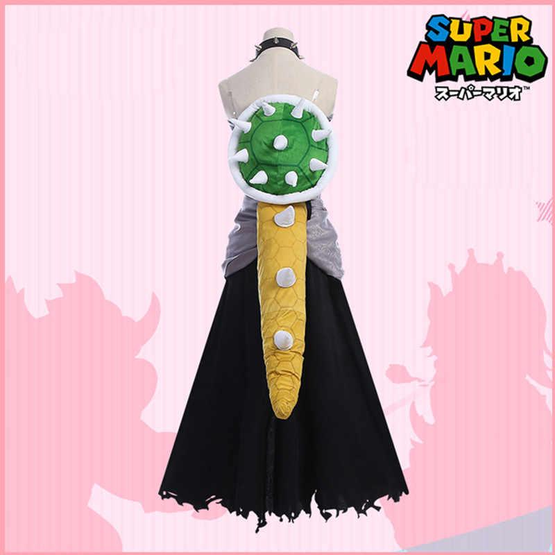 Boosette Deluxe ผู้ใหญ่สีดำ Bowsette ผู้หญิง Super Mario Bros Bowsette Carnival Party Cosplay เครื่องแต่งกายฮาโลวีนเสื้อผ้าน่ารัก