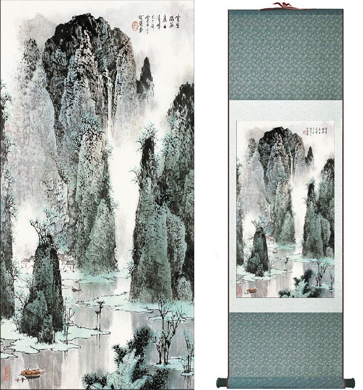 Chinese traditional landscape art painting Mountain and River art painting top quality silk scroll painting