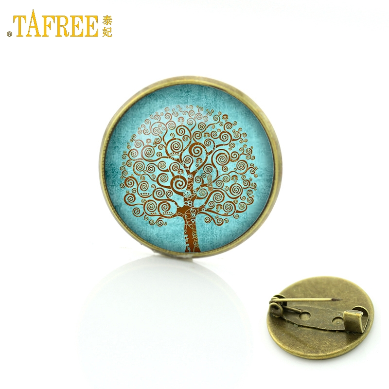 TAFREE New 2017 Vintage Tree of Life brooch Jewelry Wholesale Glass cabochon dome life tree pins New Year Christmas gift C205
