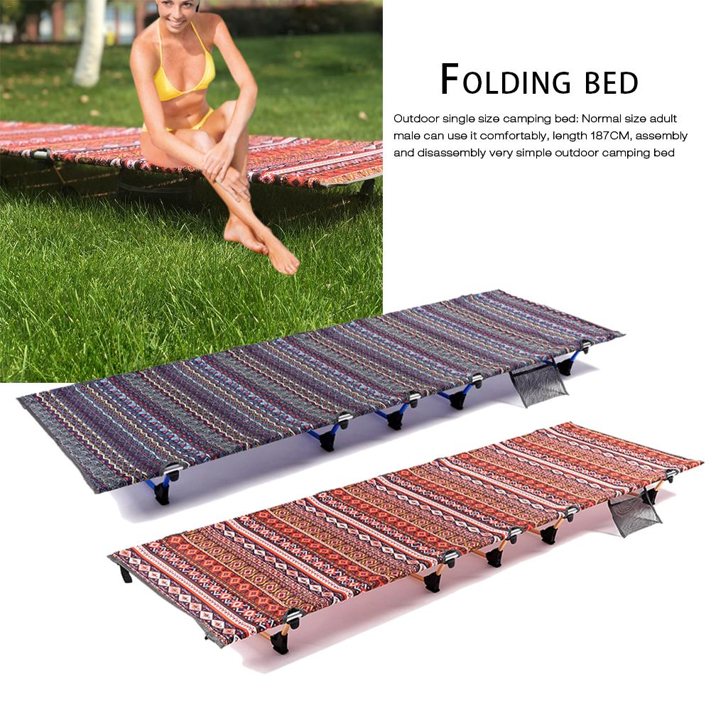 Portable Folding Camping Cot Folding Bed Aluminum Alloy Outdoor Bed For Camping Hiking Tourism Mountaineering Breaks