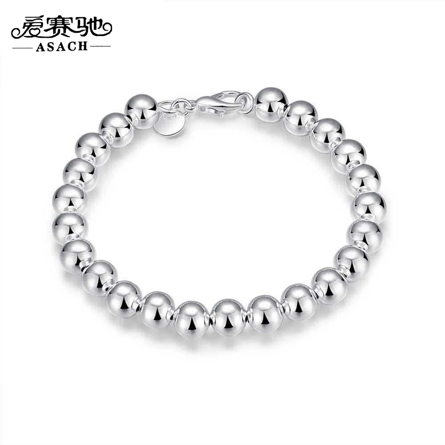 Asach High Quality Silver Plated Beads Bracelets For Women Men Fashion  Jewelry Accessories Pulsera Bracelets &amp