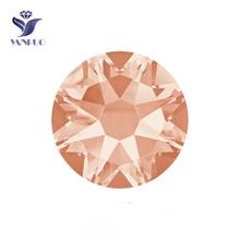 YANRUO #2088HF SS20 Lt.Peach 1440Pcs 8 Big Small Flatback Strass Hotfix Rhinestone Crystal Hot Fix For Clothing