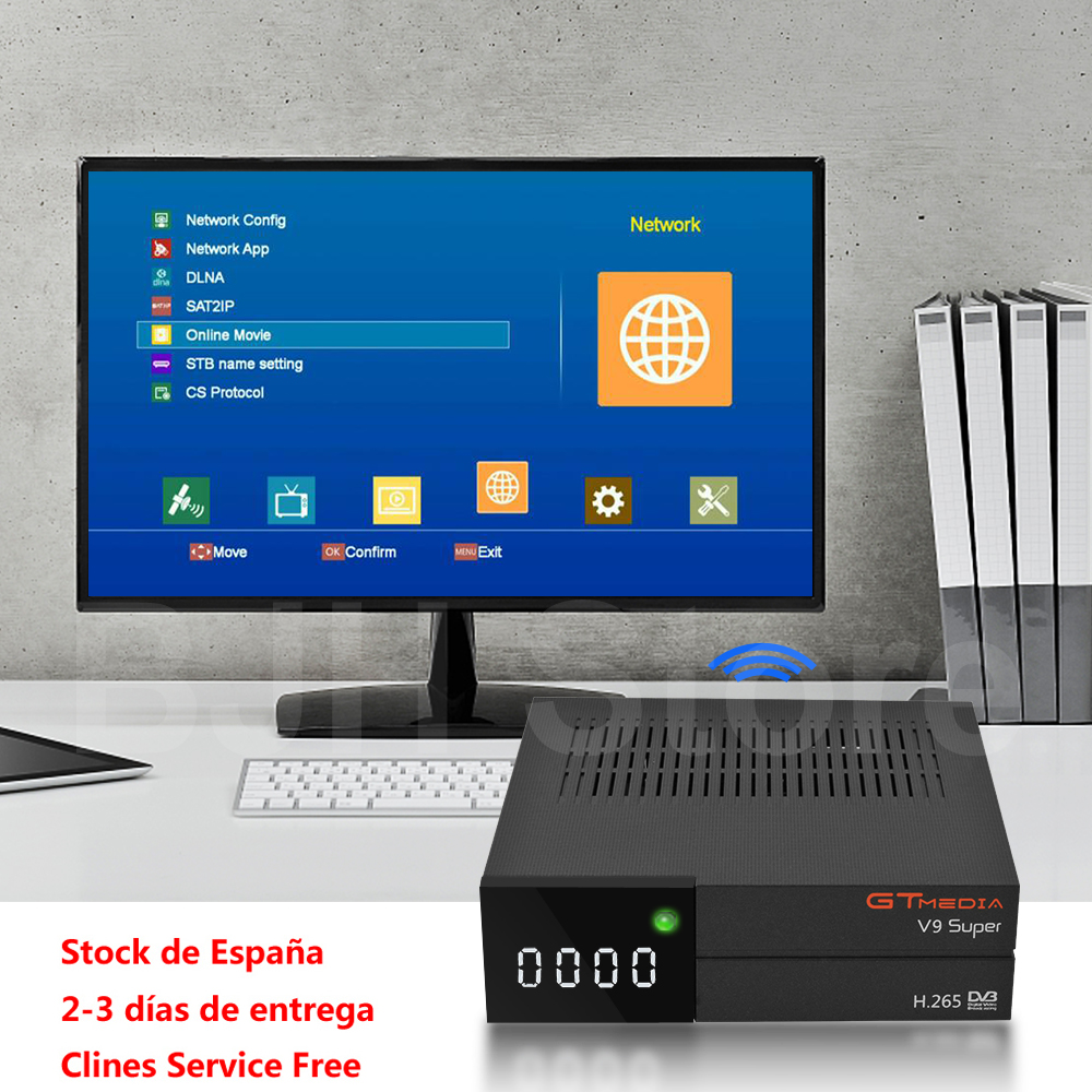 GTMedia V9 Super Receptor de Satélite Freesat DVB-S2 H.265 WI-FI embutido + 1 Ano Europa Espanha Portugal Alemanha Polonês CCcam TV caixa