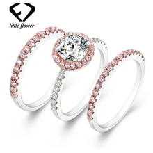 14K Rose Gold Diamond Zircon Ring Set for Female Fashion Anillos De Bizuteria Bague Etoile Gemstone 14 Jewelry Wedding