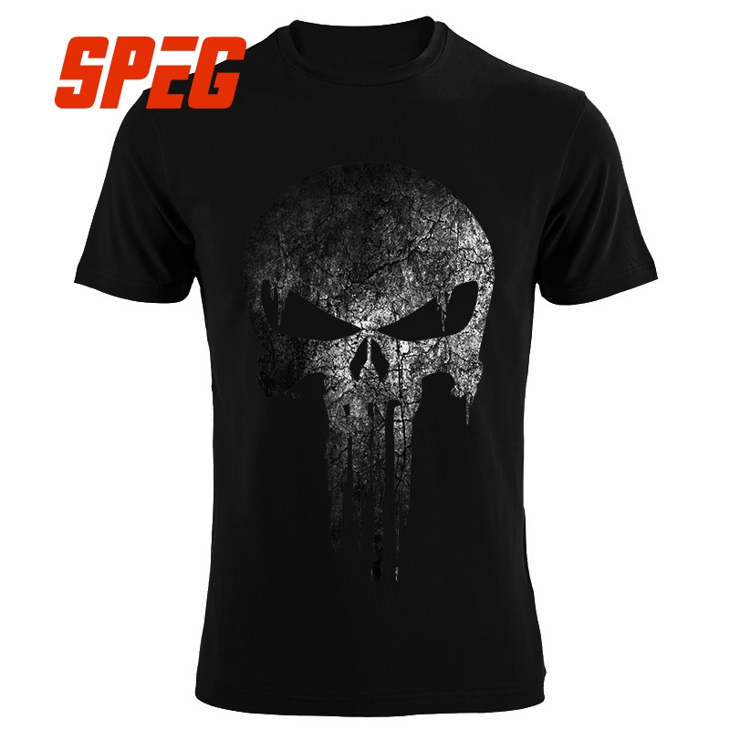 The Punisher Skull hip hop Supper Hero   t     shirts   Men   T  -  Shirt   tops tees brand clothing mma pp fitness streetwear drake   t     shirts
