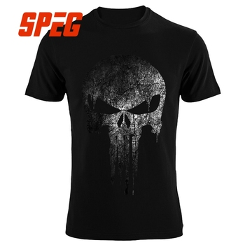 The Punisher Tengkorak Hip Hop Makan Malam Pahlawan Kaos Pria T-shirt Tops Tees Merek Pakaian MMA PP Kebugaran Streetwear Drake kaos