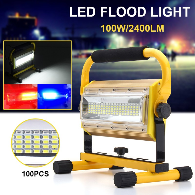 3 Colors 100W LED Floodlight Work Light Rechargeable Portable 100 LED Spot Flood Light Working Camping Lamp Outdoor Lighting