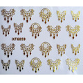 Ultrathin 3D Nail Stickers Star/Skull/Crown/Flowers Image Transfer Decal Gold Color Adhesive Nail Art Decorations XF6059