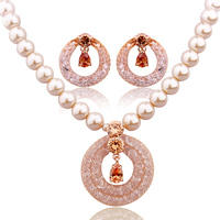 2014 Bamoer Luxury Anniversary Pearl Jewelry Sets For Women Champagne Gold Plated Zircon Crystal Necklace Earrings