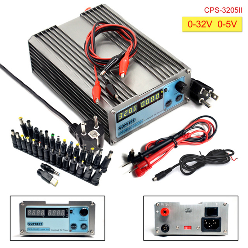 CPS 3205II DC Power Supply adjustable Digital Mini Laboratory power supply 32V 5A Accuracy 0.01V 0.001A dc Power Supply 30 plugs