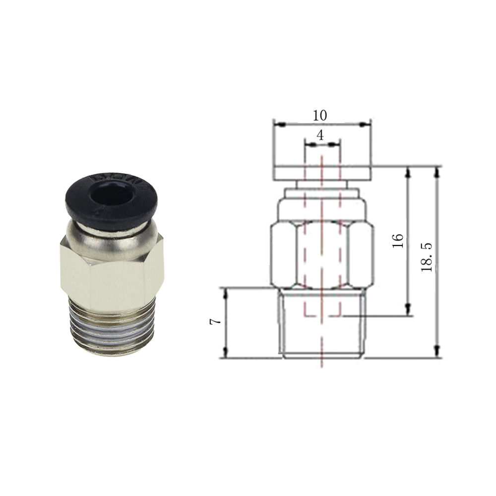 small resolution of 3d printer pc4 01 hotend j head v6 remote hot head connector extruder feed 1 75mm teflon tube in 3d printer parts accessories from computer office on