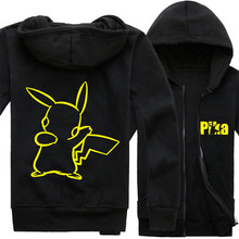Pokemon Hoodie Japanese Anime Pikachu Gengar Zipper Coat Pocket Monsters Jacket Informal Males Sweatshirt