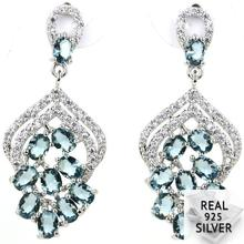 4.6g Real 925 Solid Sterling Silver 2018 New Designed Top London Blue Topaz Womans Earrings 34x15mm